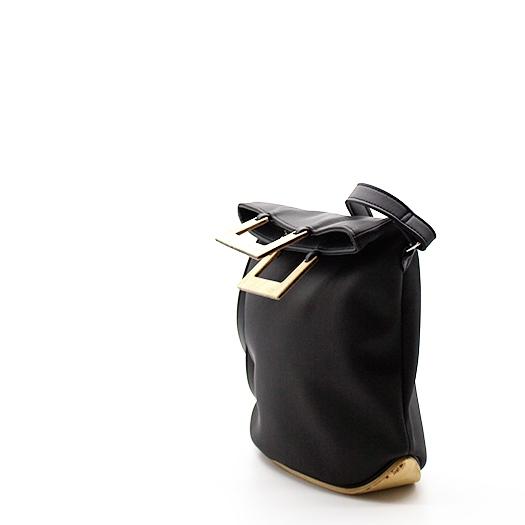 Tasche klein S anthrazit schwarz mit Holz Pappel Holzboden Holzgriffen Recycling Unikat Hydrogen 0140a_3 Seite