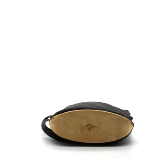 Tasche klein S anthrazit schwarz mit Holz Pappel Holzboden Holzgriffen Recycling Unikat Hydrogen 0140a_4 Boden
