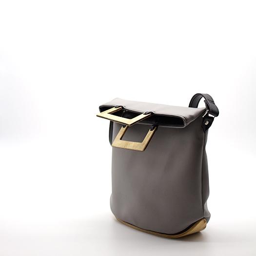 Tasche klein S grau schwarz mit Holz Pappel Holzboden Holzgriffen Recycling Unikat Hydrogen 0143_3 Seite
