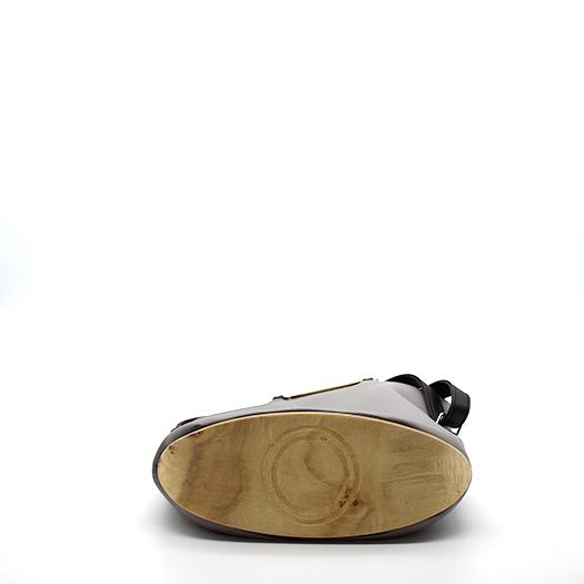 Tasche klein S grau schwarz mit Holz Pappel Holzboden Holzgriffen Recycling Unikat Hydrogen 0143_4 Boden