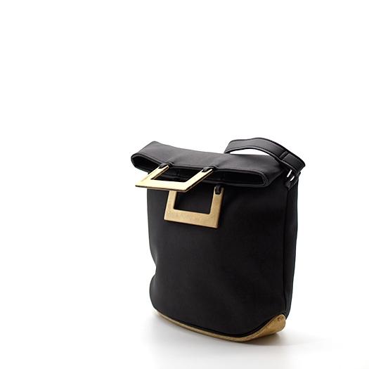 Tasche klein S anthrazit schwarz mit Holz Pappel Holzboden Holzgriffen Recycling Unikat Hydrogen 0149_3 Seite