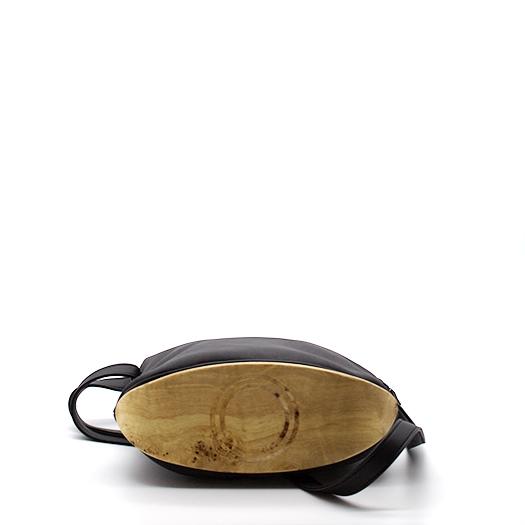 Tasche klein S anthrazit schwarz mit Holz Pappel Holzboden Holzgriffen Recycling Unikat Hydrogen 0149_4 Boden
