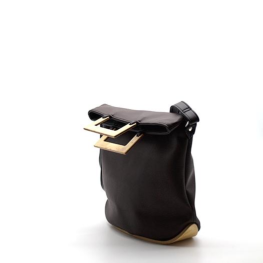 Tasche klein S braun schwarz mit Holz Vogelaugenahorn Holzboden Holzgriffen Recycling Unikat Hydrogen 0151_3 Seite