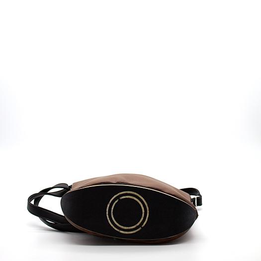 Tasche klein S braun schwarz mit Holz Tulpenholz schwarz Holzboden Holzgriffen Recycling Unikat Hydrogen 0152_4 Boden
