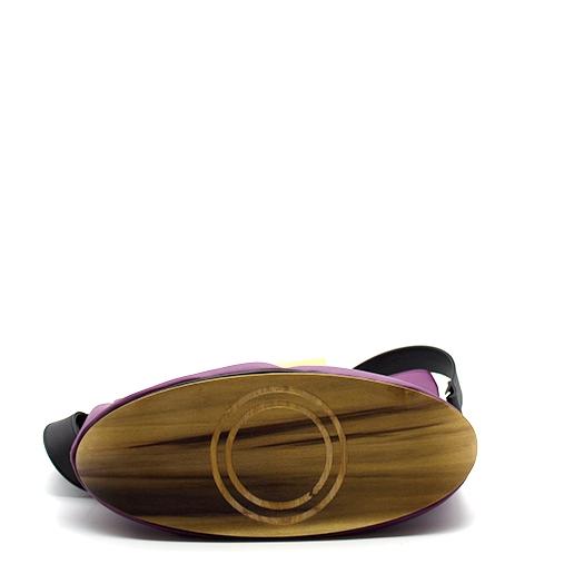 Tasche groß L lila schwarz mit Holz Tulpenholz Holzboden Holzgriffen Recycling Unikat Hydrogen 0037_4 Boden