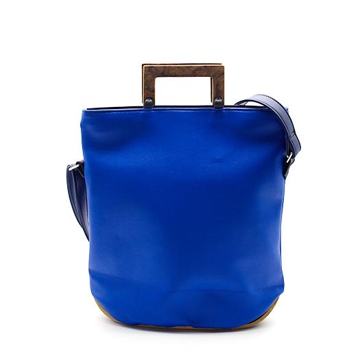 Tasche klein S blau blaubeere mit Holz Nussbaum Wurzelholz Holzboden Holzgriffen Recycling Unikat Hydrogen 0120_2
