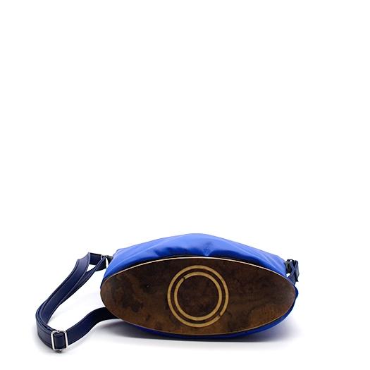 Tasche klein S blau blaubeere mit Holz Nussbaum Wurzelholz Holzboden Holzgriffen Recycling Unikat Hydrogen 0120_4 Boden