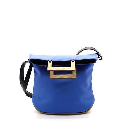 Tasche klein S asterblau blau schwarz mit Holz Eiche Holzboden Holzgriffen Recycling Unikat Hydrogen 0139a_1