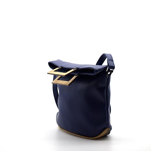 Tasche klein S dunkelblau blau mit Holz Eiche Holzboden Holzgriffen Recycling Unikat Hydrogen 0141_3 Seite