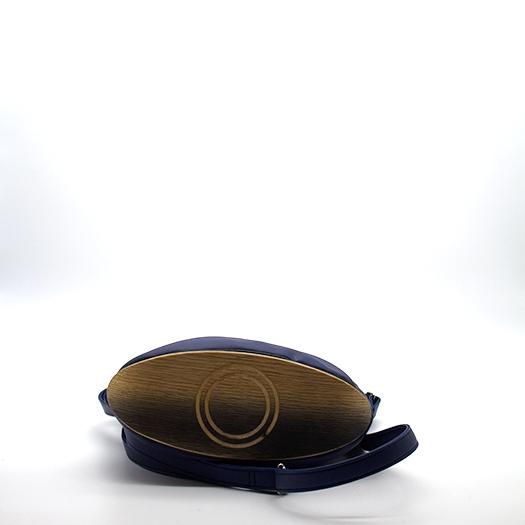 Tasche klein S dunkelblau blau mit Holz Eiche Holzboden Holzgriffen Recycling Unikat Hydrogen 0141_4 Boden
