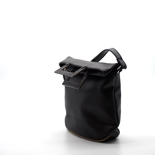 Tasche klein S schwarz mit Holz Tulpenholz schwarz Holzboden Holzgriffen Recycling Unikat Hydrogen 0153_3 Seite