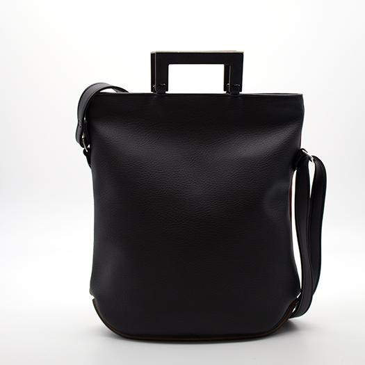 Tasche klein S schwarz rot ocker mit Holz Tulpenholz schwarz Holzboden Holzgriffen Recycling Unikat Hydrogen 0121_3