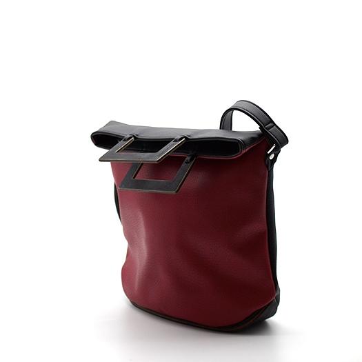Tasche klein S schwarz rot ocker mit Holz Tulpenholz schwarz Holzboden Holzgriffen Recycling Unikat Hydrogen 0121_4 Seite