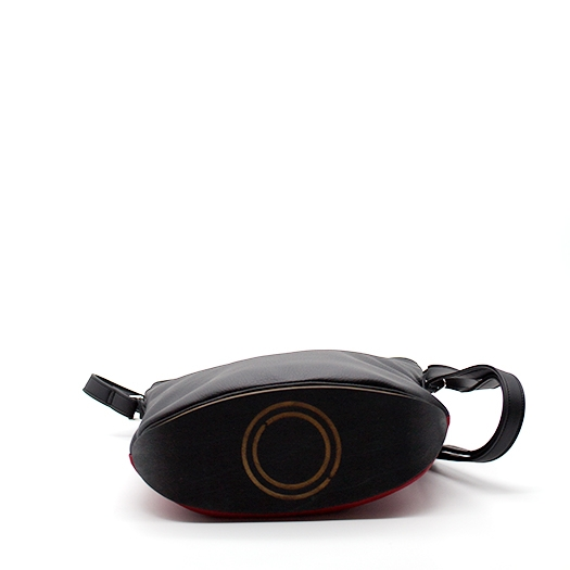 Tasche klein S schwarz rot ocker mit Holz Tulpenholz schwarz Holzboden Holzgriffen Recycling Unikat Hydrogen 0121_5 Boden