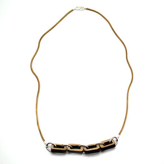 Carbon Gliederkette Holz Pappel Fuchsschwanz Kette Tombak/Messing gold (925 Silber Verschluss) 001_2